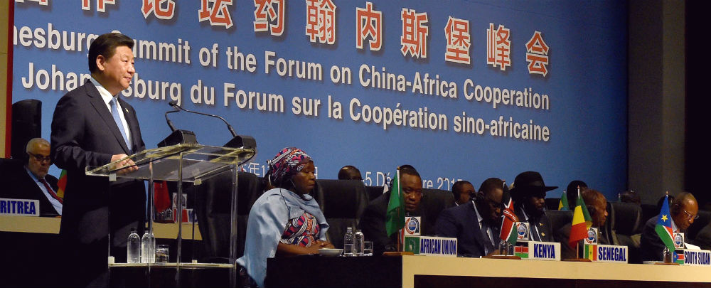 Chinese President Xi Jinping speaks at the Forum on China-Africa Cooperation in 2015