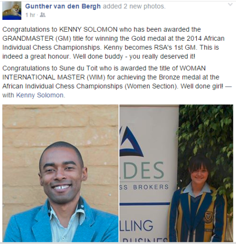 Post from Gunther congratulating Kenny Solomon on becoming a Grandmaster