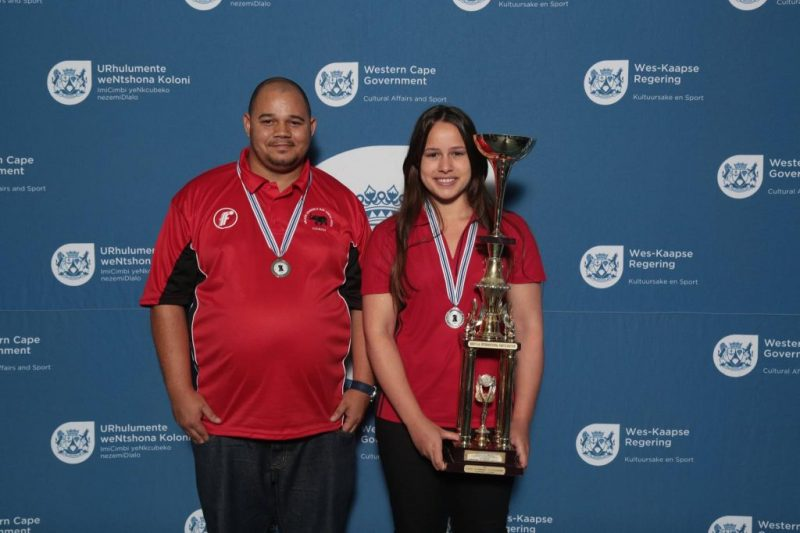 Winning team, Chess Coach Freddy Odendaal and Jesse February
