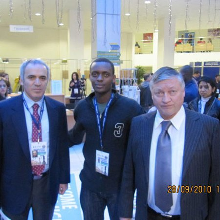 FERWADE Treasurer Alain Niyibizi with Garry Kasparov and Anatoly Karpov at the Chess Olympiad 2010 in Khanty Mansiysk, Russia