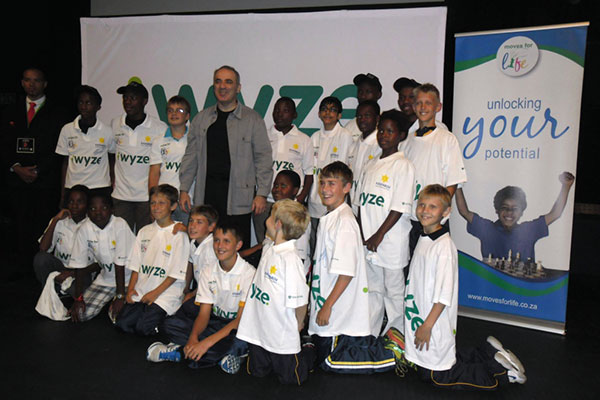 Garry Kasparov with upcoming stars during his latest visit to South Africa in March 2012