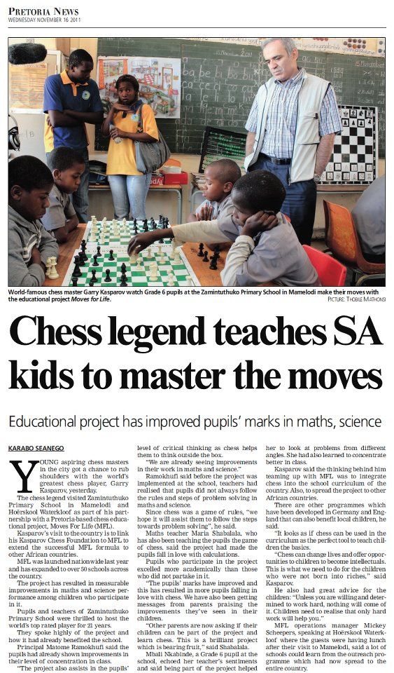 Newspaper article on Garry's visit to a South African school