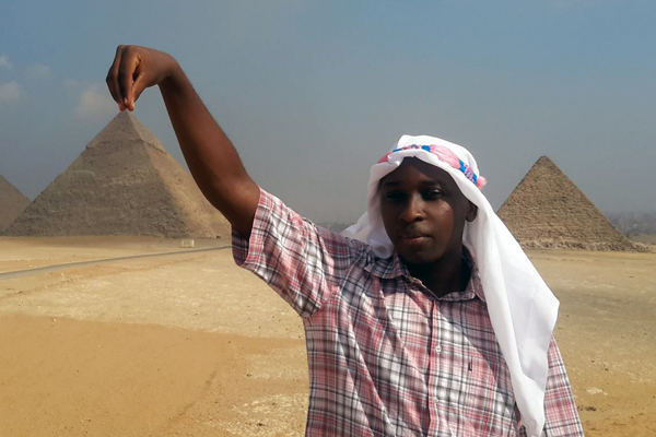 Wilfried having fun at the Great Pyramids of Giza in Cairo