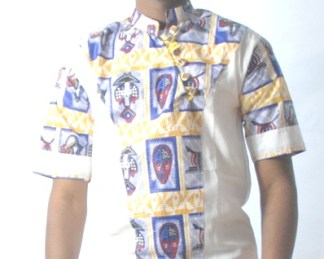 white shirt with african design