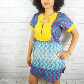 woman shirt-dress blu yellow