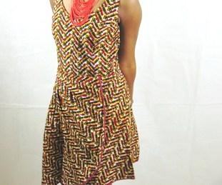 africadad mini dress with yellow zigzag