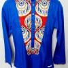 chemise bleu rouge tissu africain