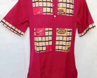 chemisette bordeaux avec tissu africain