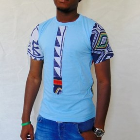 t-shirt blue tie african fabric