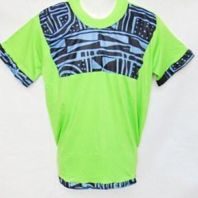 t-shirt vert motifs bleu tissu africain