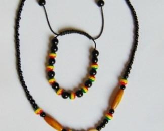 african set necklace and mulitocolor bracelet