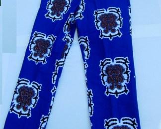 pantalon en tissu africain de couleur bleu