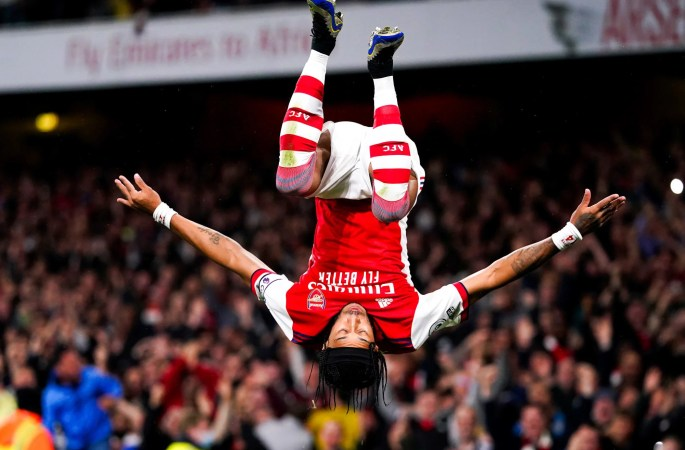 Pierre-Emerick Aubameyang celebrated his goal against Crystal Palace