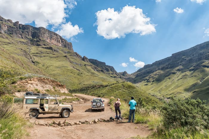 Two four-wheel drive vehicles on the Sani Pass, Drakensberg