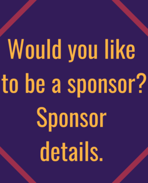 """yellow text """"Would you like to be a sponsor? Sponsor details."""" on purple background to as Art & Soul attendees to become sponsor."""