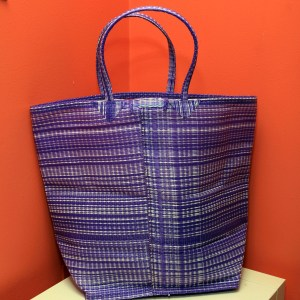 Purple & White – Multipurpose hand-made woven plastic tote bag