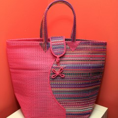Multicolored & Pink - Multipurpose hand-made woven plastic tote bag