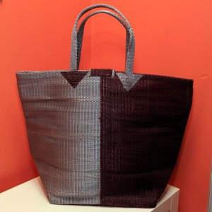 Silver & Brown – Multipurpose hand-made woven plastic tote bag