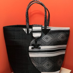 Black & White - Multipurpose hand-made woven plastic tote bag