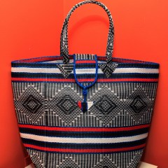 Black, Red & Blue - Multipurpose hand-made woven plastic tote bag