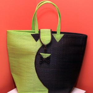 Light Green & Dark Brown - Multipurpose hand-made woven plastic tote bag