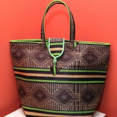 Brown & Green Stripes - Multipurpose hand-made woven plastic tote bag