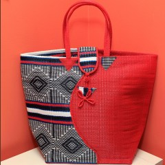 Half Red & Black, Blue, White - Multipurpose hand-made woven plastic tote bag