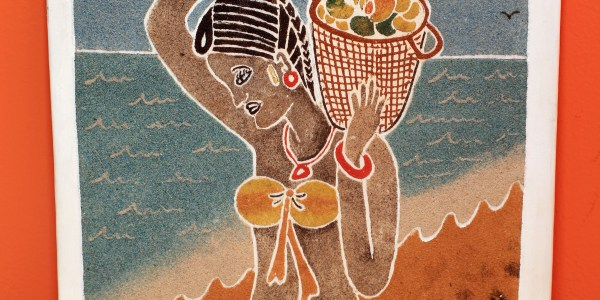 Beautiful African Woman with Fruit Bowl - Sand Painting