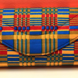 Yellow, Blue and Red Stripes African Fabric Small Purse