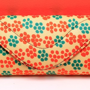Creme with Orange & Green Dots African Fabric Small Purse