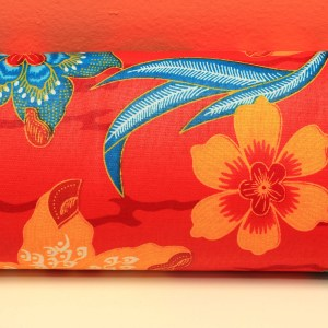Red with Blue & Orange Flowers African Fabric Small Purse