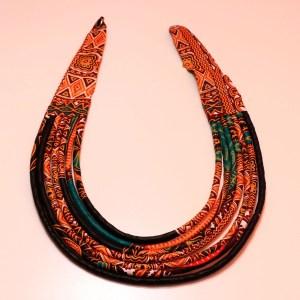 Black & Orange Handmade African Print Fabric Necklace
