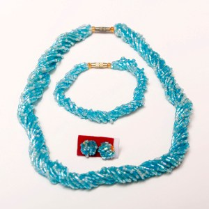 Light Blue Handmade African Beaded Necklace Set