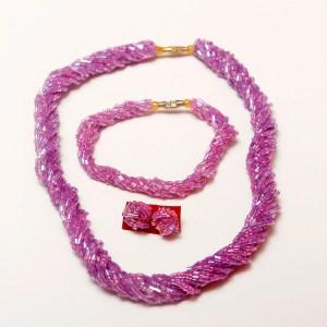Dark Pink Handmade African Beaded Necklace Set