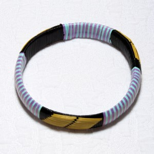 Purple & Blue Stripes African Plastic Bracelet