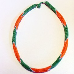 Green & Orange African Beaded Necklace