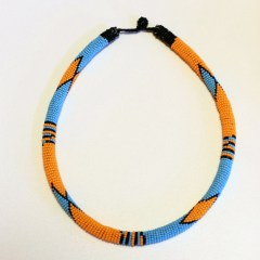 Orange Blue Black African Beaded Necklace