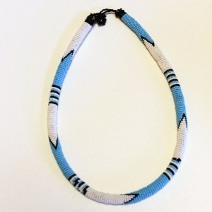 White & Blue African Beaded Necklace
