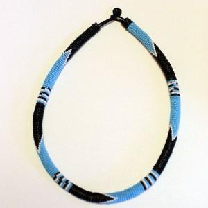 Ligt Blue & Black African Beaded Necklace