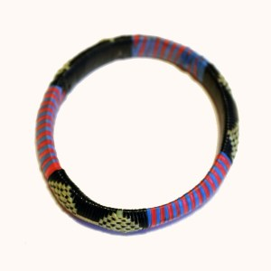Blue, Red & Yellow African Plastic Bracelet