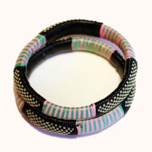 Dark Green & Pink African Plastic Bracelet