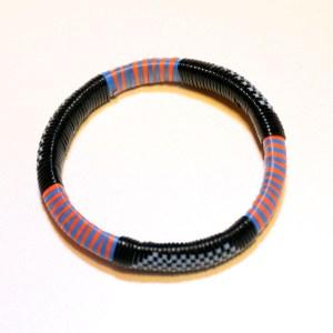 Blue & Orange Stripes African Plastic Bracelet