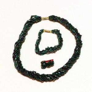 Dark Green African Beaded Necklace Set