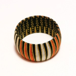 Orange, White & Black African Print Bangles