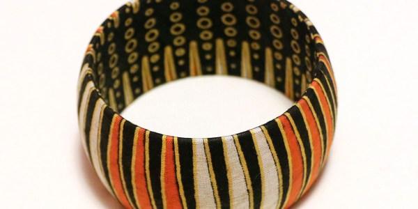 Orange, White & Black African Print Bangles
