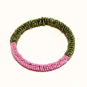 Pink & Green African Beaded Bracelet - Round
