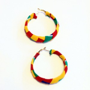Green, Yellow and Red African Print Bracelet & Earrings Set