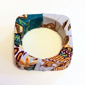 Grey & Green African Print Bracelet & Earrings Set