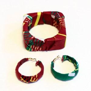 Red African Print Bracelet & Earrings Set