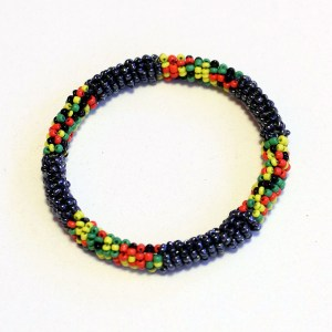 Black, Red, Yellow and green African Beaded Bracelet - Round